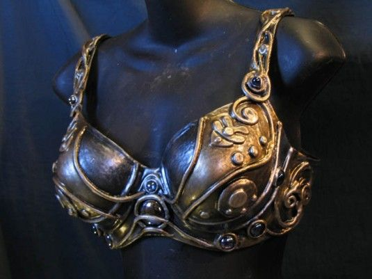 26b7c85efc598 Metal-look bra made by Organic Armor. Latex over foam or cloth which is  then painted to resemble metal.