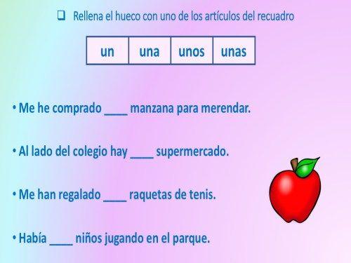 Competencia Lingüística Trabajamos Los Artículos Determinados E Indeterminados Rellenando Huecos Orientacion Anduja Recursos Educativos Articulos Orientacion