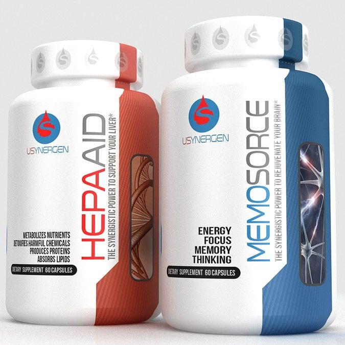 Create two capturing product labels for two related dietary supplement products by arquimedia