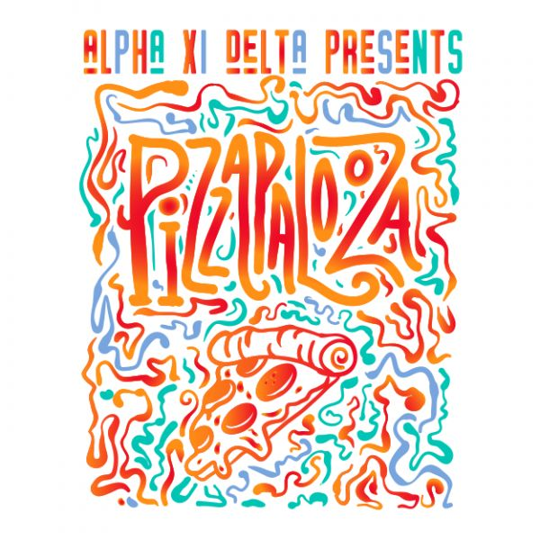 Design Gallery | Greek House: Custom Apparel For Sororities & Fraternities | Jeans Social Event | Greek House t shirts for greek apparel | Alpha Xi Delta | pizza party | pizzapalooza | philanthropy | sisterhood