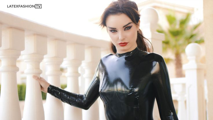 Eyes. latexfashiontv:   The beautiful Portia Victoria wearing an amazing neck entry Fantastic Rubber catsuit shooting with LatexFashionTV in Spain!