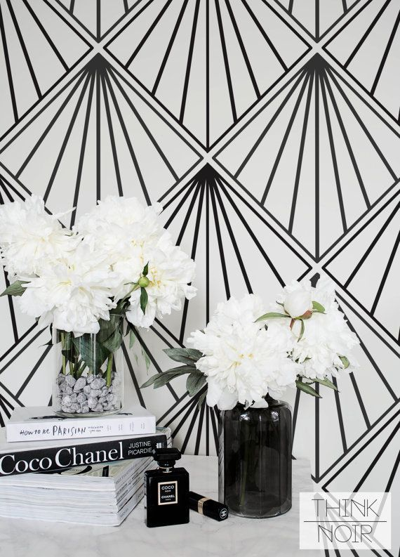 ThinkNoir Wallpaper with Art Deco pattern is ready to make any room unique and trendy! Our removable wallpaper and murals is easy way how to bring some ...