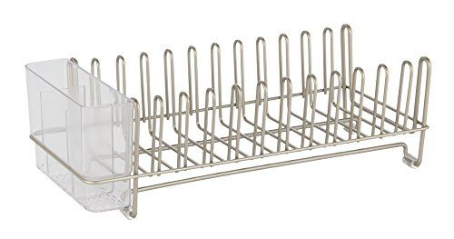 InterDesign Classico Compact Kitchen Dish Drainer Rack for Drying Glasses, Silverware, Bowls, Plates - Satin/Clear. For product info go to:  https://all4hiking.com/products/interdesign-classico-compact-kitchen-dish-drainer-rack-for-drying-glasses-silverware-bowls-plates-satinclear/