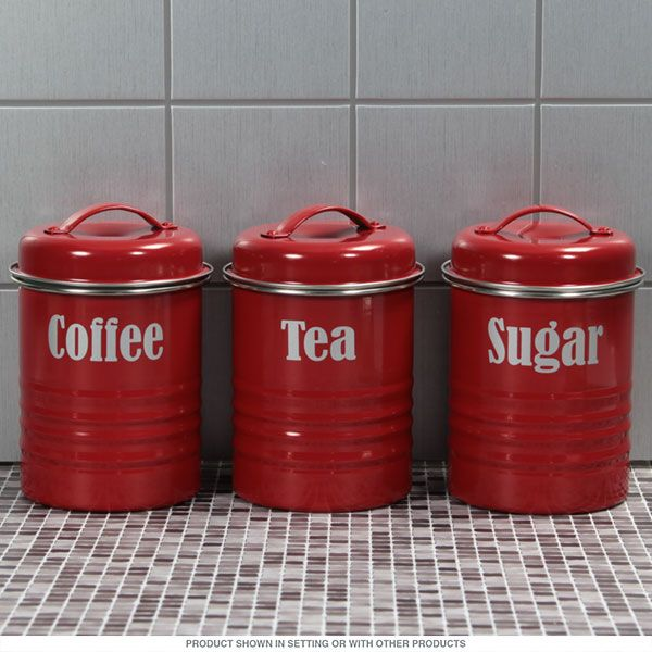 Coffee Sugar and Tea Canister Set in Red | Kitchen Jars and Canisters | RetroPlanet.com #retro #kitchen #canisters http://www.retroplanet.com/PROD/55847