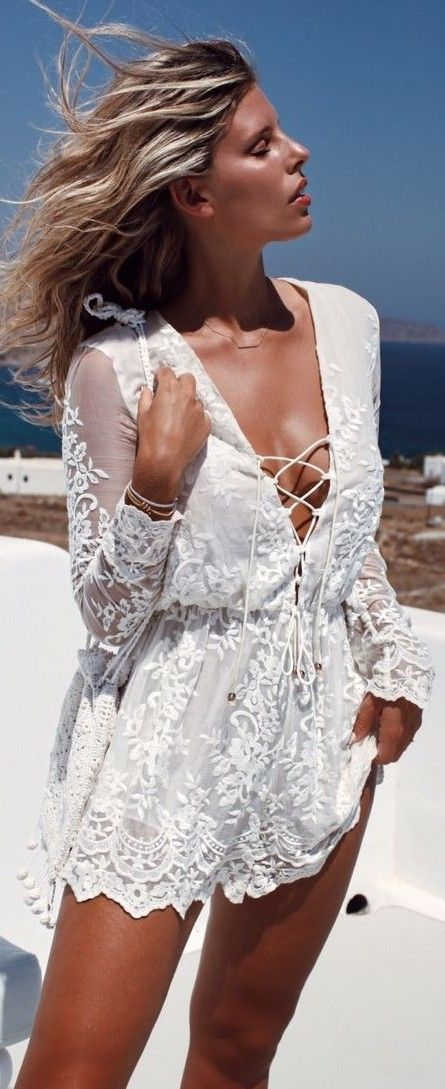 #summer #beach #outfits | White Lace Romper
