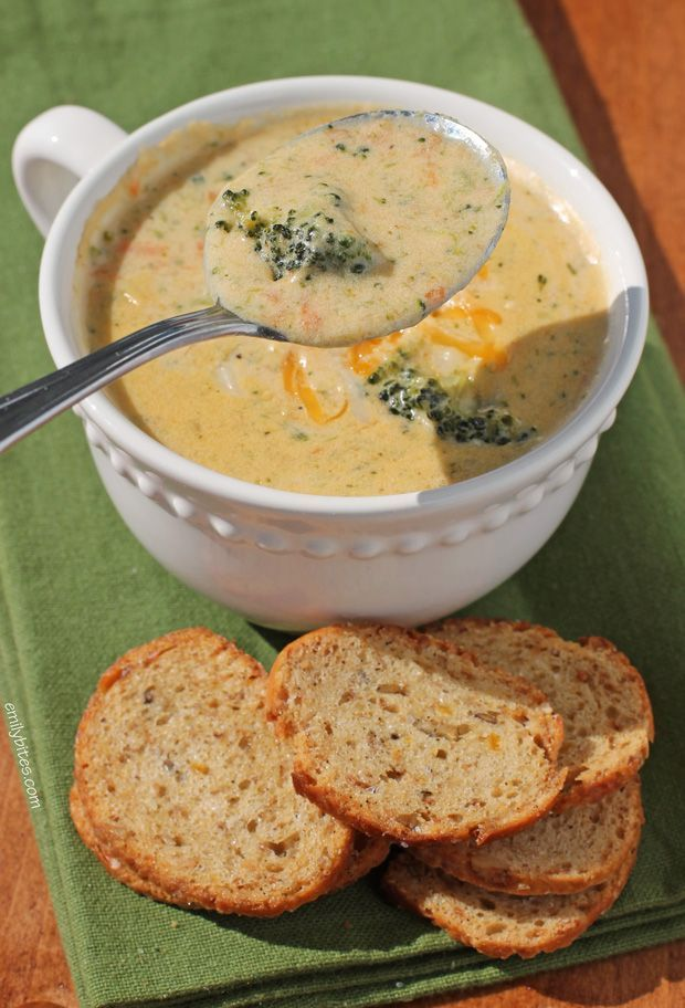 Nothing's better comfort food than a warm, cheesy bowl of lightened up Broccoli Cheddar Soup! This tasty skinny version is just 232 calories or 6 Weight Watchers points! www.emilybites.com #healthy
