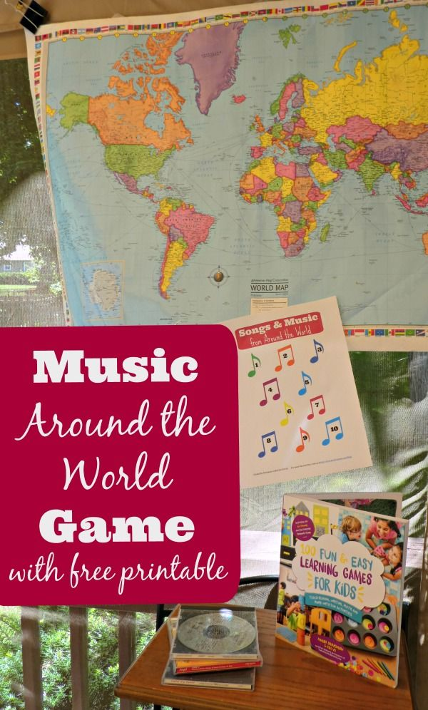 Fun music game for kids!  Learn about geography & songs from around the world with this musical game w/free printable!