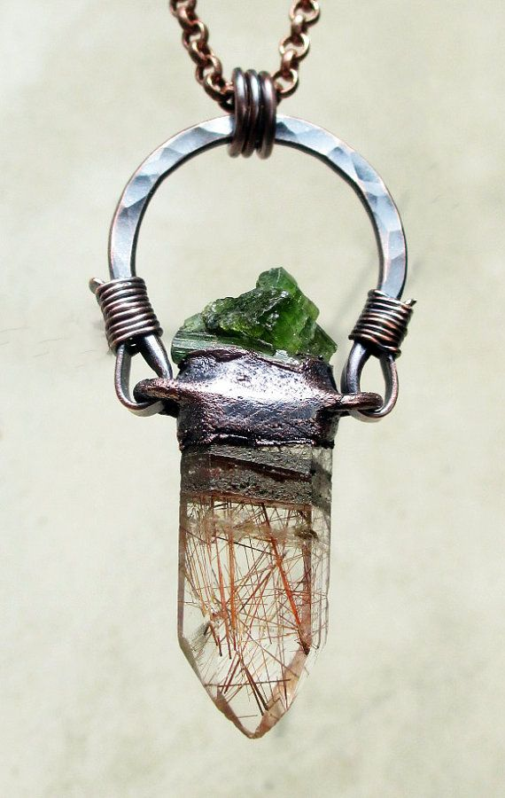 Tribal Amulet with Rutilated Quartz and Green Tourmaline, Chakra Balancing, Love, Prosperity, Talisman, Amulet, Relic, Handmade, Crystals