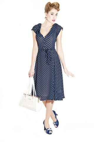 Collectif Violet Navy Polka Dot Chiffon Tea Dress | Clarence and Alabama