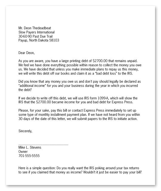 Collection Letter Template Final Notice  Letter Template