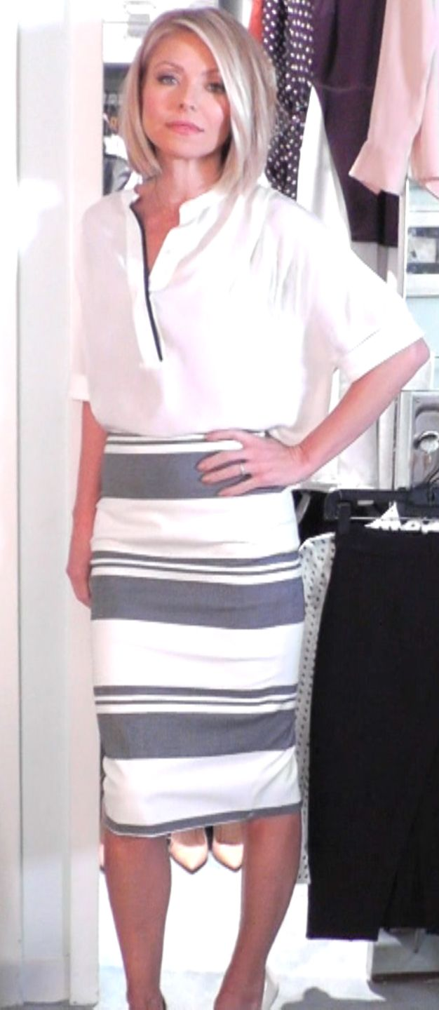 Kelly Ripa in a Vince Top and Elizabeth and James Skirt from Intermix LIVE with Kelly and Michael Fashion Finder.
