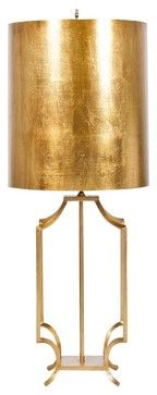 Oversized Drum Shade Table Lamp, Modern Retro Style In Gold Leaf Finish