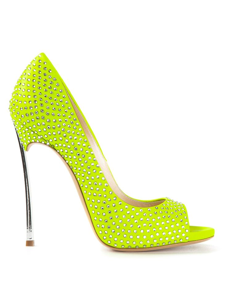 Casadei Fluorescent Yellow Leather 'Blade' Pumps €582 Spring Summer 2014 #Shoes #heels