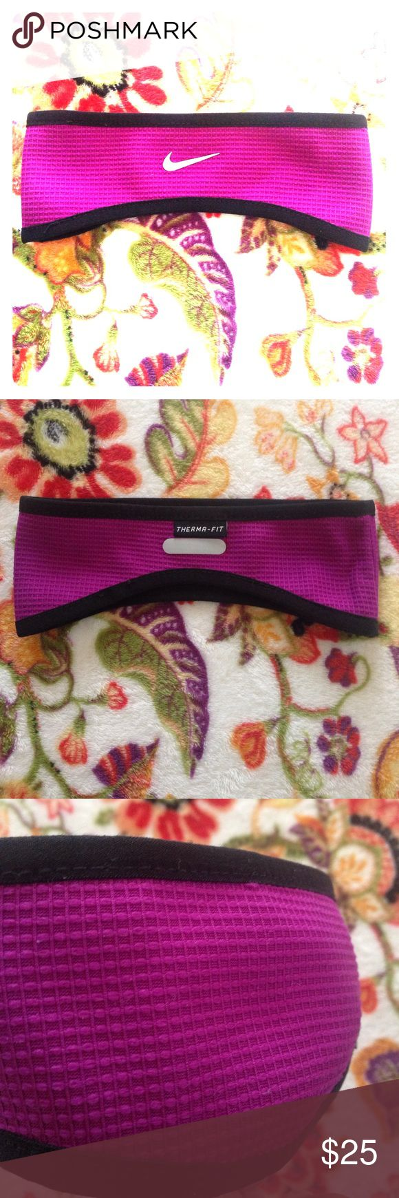 Nike running Headband (Reversible) Woven web knit waffle running headband in purple berry. Reverses in black for easy matching options and bold bright days. Swoosh on both sides in Steele grey. Therma for design and technology. Nike Accessories Hats