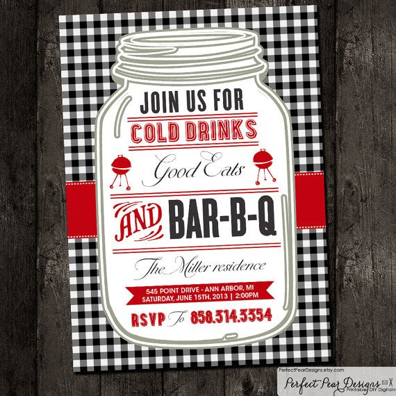 Barbecue Invitation, Barbeque, BBQ, Picnic, Holiday, Vintage, Red White Check Gingham Plaid - PicnicCountry, Rustic (DIY Digital Printable) on Etsy, $16.00