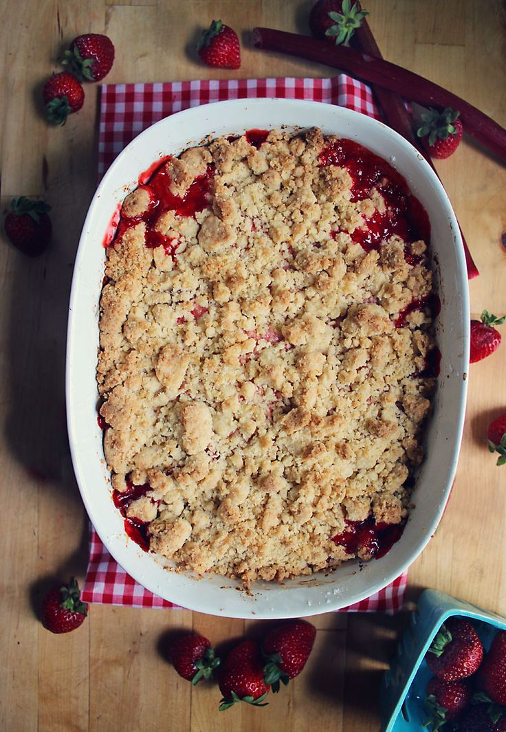 (My Favorite) Strawberry Rhubarb Crumble (the crumble topping is made with lemon zest and turbinado sugar - so, so good!)