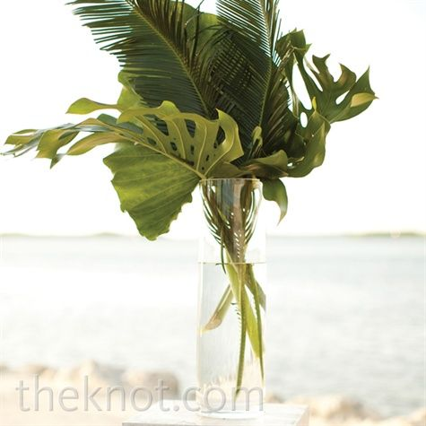 Real Weddings - A Coastal Chic Wedding in Islamorada, FL - Palm Ceremony Arrangement