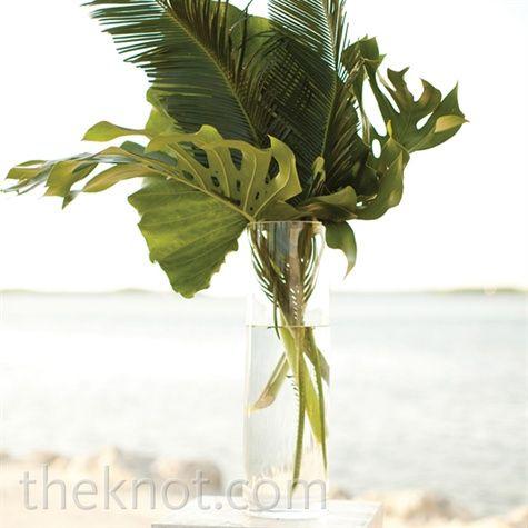 Real Weddings - A Coastal Chic Wedding in Islamorada, FL - Palm Ceremony Arrangement