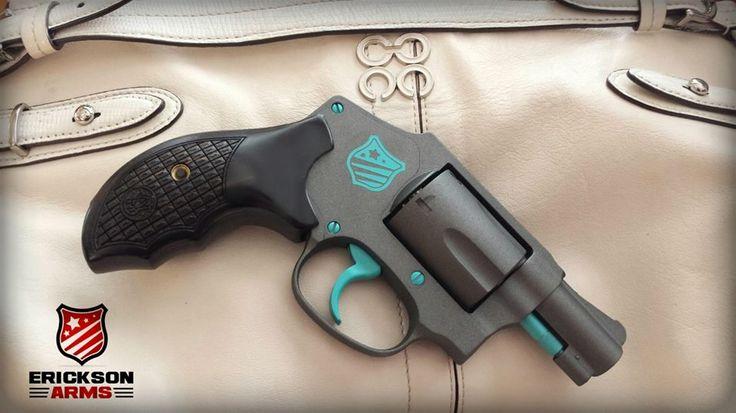 Smith & Wesson .38 Special in cerakote Tungsten H-237 and custom blue mix accents #ericksonarms #cerakote