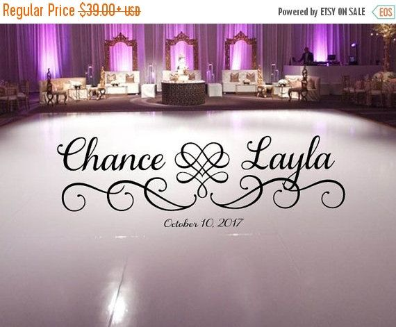 Large wedding dance floor decal hearts with swirls scroll frame fancy calligraphy font personalized names vinyl lettering