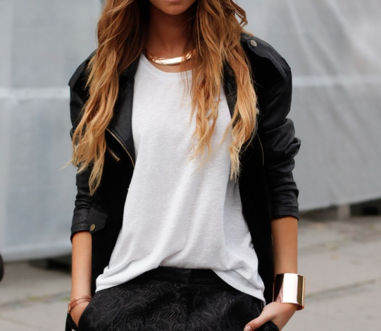 white shirt, leather and gold