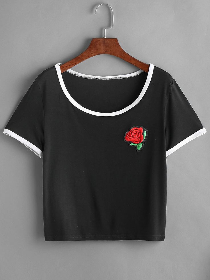 Shop Black Contrast Trim Rose Embroidered Patch T-shirt online. SheIn offers Black Contrast Trim Rose Embroidered Patch T-shirt & more to fit your fashionable needs.