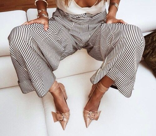 Striped Trousers + Pointed Shoes