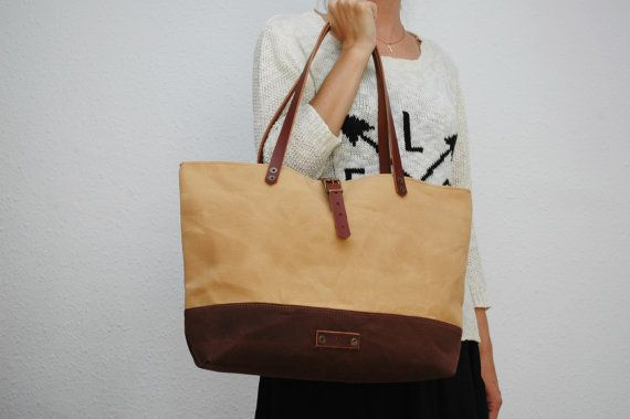 waxed canvas  bag , vanilla ,chocolatte ,with leather handles and closures,hand wax