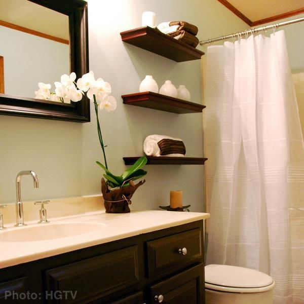 Zen bathroom idea floating shelves house ideas for Bathroom shelves design