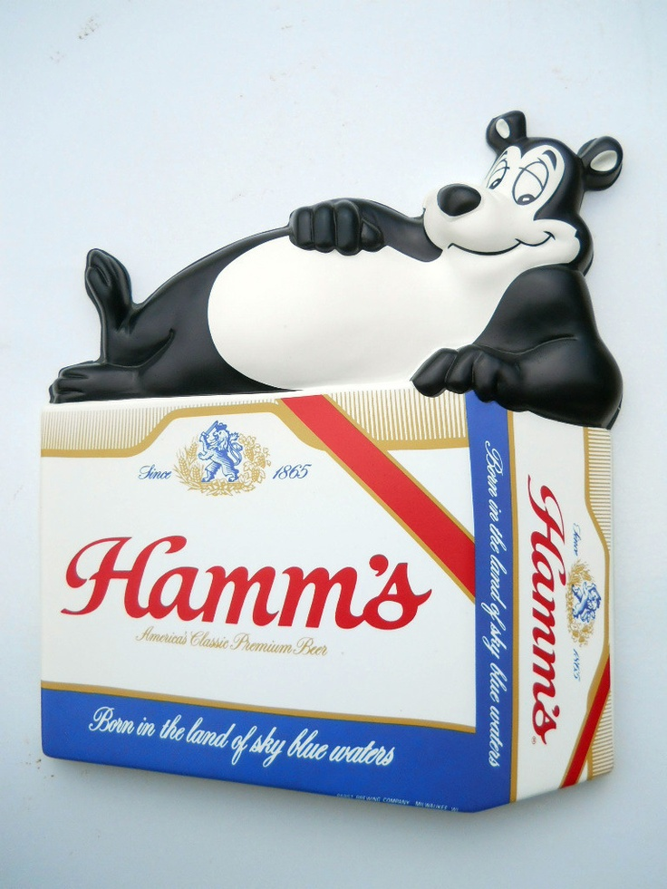 Hamm's Beer Sign Bear sits on 6-Pack Cans Vacuform Plastic $40