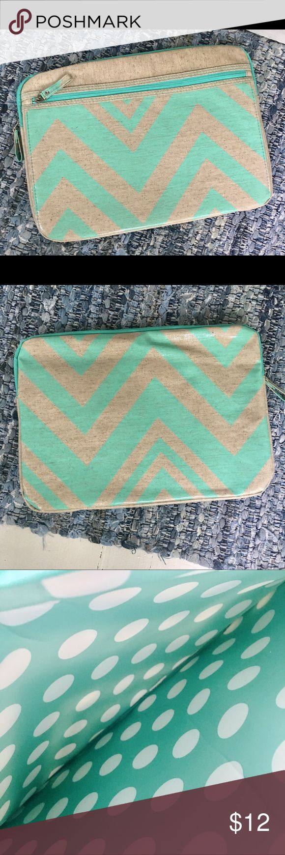 Laptop case for 15 inch laptop , brand new Beautiful laptop case , brand new never used , purchased for 15 inch MacBook . Fits up to 16 inch laptop. Zip pocket in front for extra storage . Mint green and natural fiber design and pattern , overall measurement is 16 by 11 1/2 inches .waterproof fabric Accessories Laptop Cases