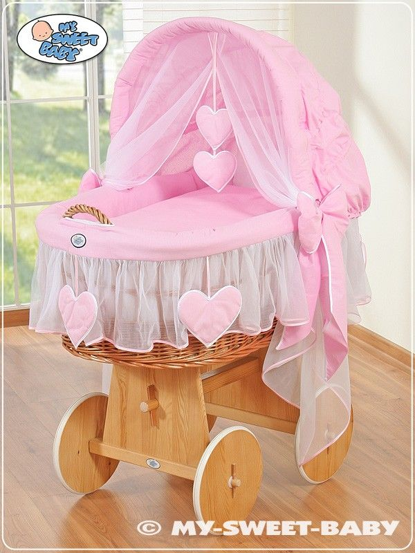 Wicker Crib Vintage Moses Basket bassinet Hearts with canopy in Pink - €239,00 #babyshoppingmarket #wicker #crib