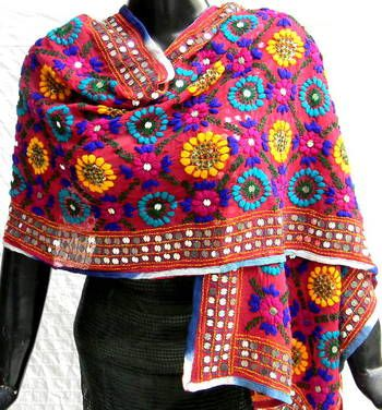 Red georgette phulkari dupatta