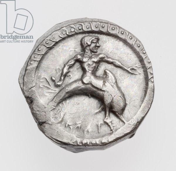 Statere di Taras (Taranto) con Taras il delfino, tardo arcaico o all'inizio del periodo classico, 500-473 aC (argento)