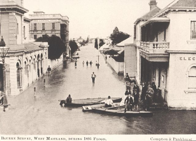 View of Bourke Street during the 1893 flood, Maitland, NSW, Australia by Cultural Collections, University of Newcastle, via Flickr