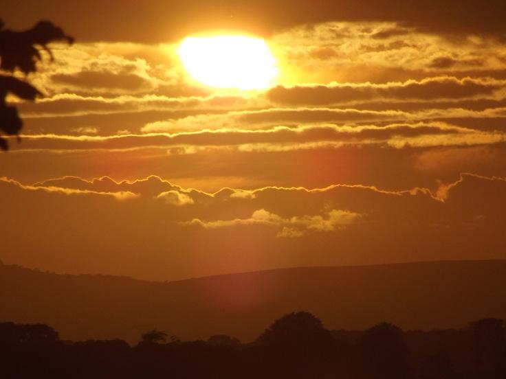 Sunset over Swanage bay.