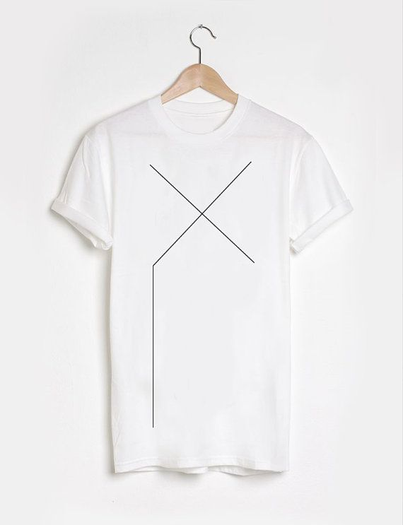 Unisex black or white graphic t-shirt minimalistic X by Rannka
