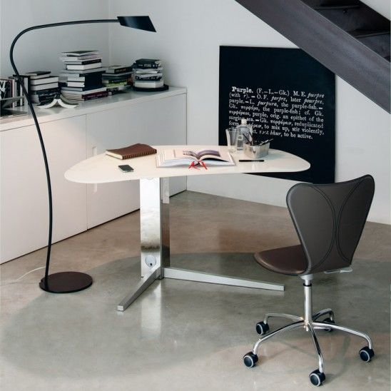 Island is a #desk with stainless steel base and top in crystal or wood. Design Paolo #Cattelan