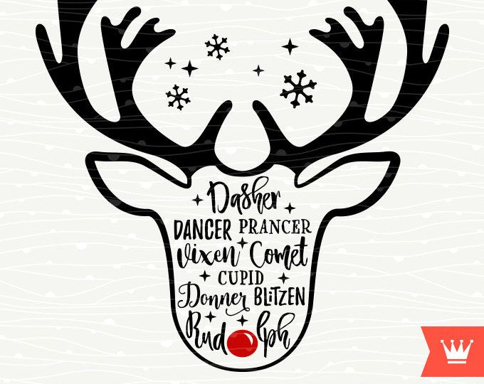 Santa Claus Christmas Reindeer Names SVG Decal Cutting File Merry Christmas Transfer for Cricut Explore, Silhouette Cameo, Cutting Machines