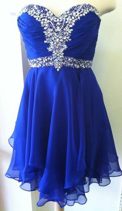 Cute Chiffon Homecoming Dress, Royal Blue Prom Dress,Sweetheart Beading Homecoming Dress