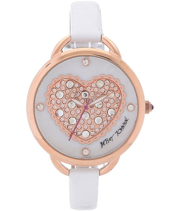 ROSE GOLD PUFFY HEART DIAL WHITE accessories jewelry watches fashion