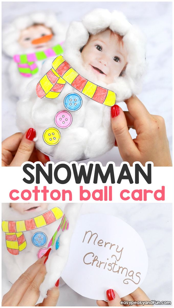 Cotton Ball Snowman Craft – DIY Christmas Card