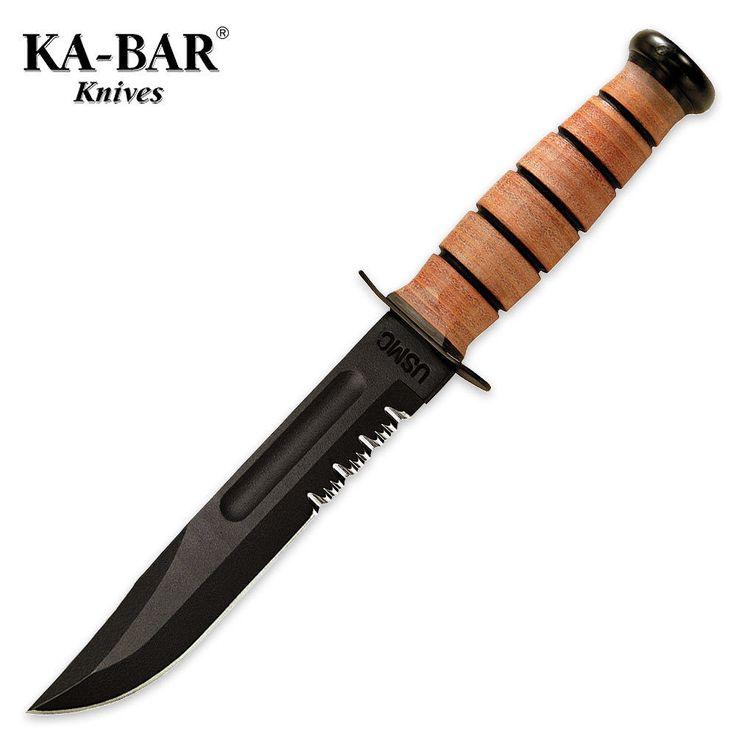 Ka-Bar - USMC Fixed Blade Knife Serrated Edge w/ Leather Sheath 1218 NEW #KaBar