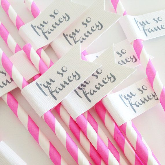 25 Im So Fancy Paper Straws With Flags by DixieAndTwine on Etsy