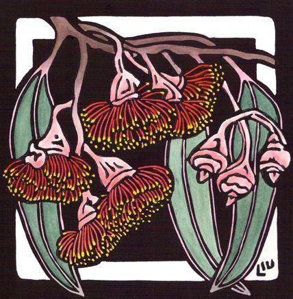 LYNETTE WEIR: Eucalyptus cassea Linocut Design