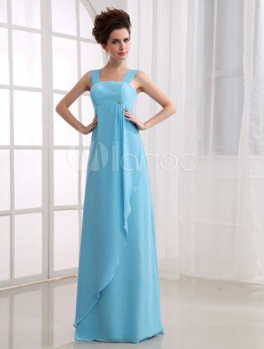 Fabuleuse robe de demoiselle d'honneur faite en mousseline de soie et en satin - Milanoo.com