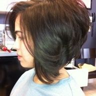 A Line Sexy stacked bob by Strandz Salon Boutique Flower Mound TX.  This is one of those hairdos that I would end up in a goofy barrette.  But if I were a blow dry kind of girl, I would like to have this haircut.