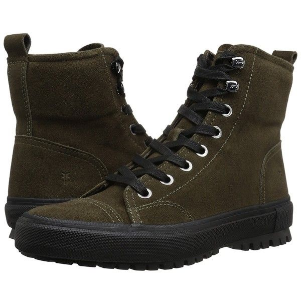 Frye Ryan Military (Olive Suede) Men's Lace-up Boots ($228) ❤ liked on Polyvore featuring men's fashion, men's shoes, men's boots, mens military boots, mens suede boots, mens lace up shoes, mens lace up boots and mens shoes
