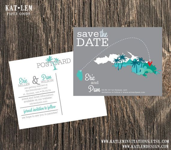 St. Thomas  Save the Date  Charlotte Amalie by katleminvitations, $15.00