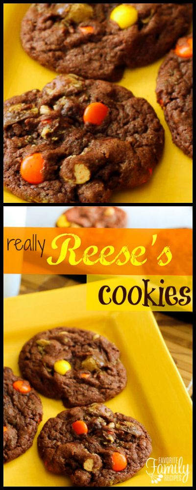 With three different types of Reese's candies, these are really Reese's cookies. Chocolate and peanut butter in every delicious bite! via @favfamilyrecipz